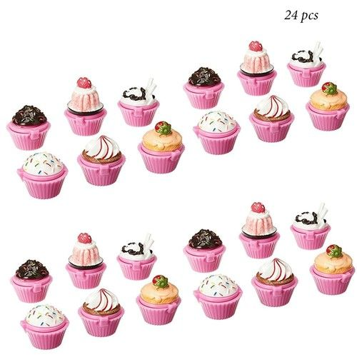 Ifavor123 Cupcake Novelty Lip Gloss Lip Balm Set – Assorted Designs for Girls Birthday Party Favors Goodie Bags Prize Giveaway Makeup Fun (24)