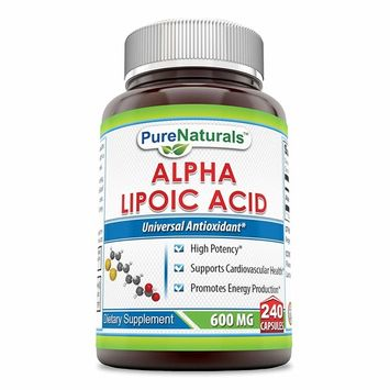 Pure Naturals Alpha Lipoic Acid 600 Mg 240 Capsules, High Potency* Supports Cardiovascular Health* Promotes Energy Production*