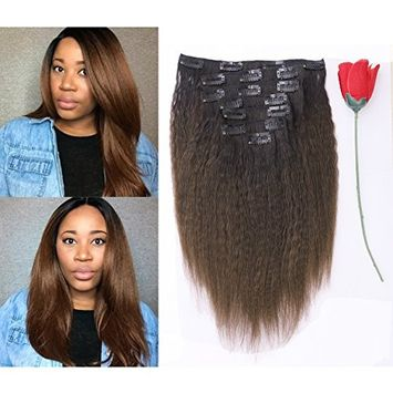 Afro Kinky Curly Ombre Human Hair Extensions Clip in Remy #4/27 Strawberry Blonde Real 100% Brazilian 10-22 inch Balayage Hair Color Thick For Black Women