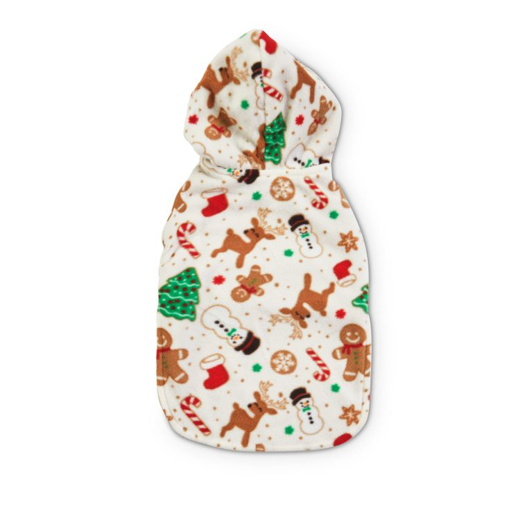 Holiday Tails Home For Christmas Reversible Novelty Print Fleece Cat Cozy Coat