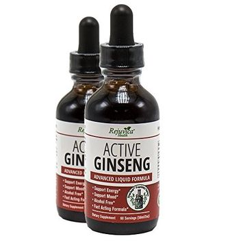 Active Ginseng - Real Red Ginseng All-Natural Liquid Solution for 2X Absorption Supports Healthy Energy, Vitality, Mood & More (Pack of 2)