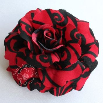 Sara Monica Hair Flower clip and brooch pin, Swirl Rose, Made in USA (Red and Black)
