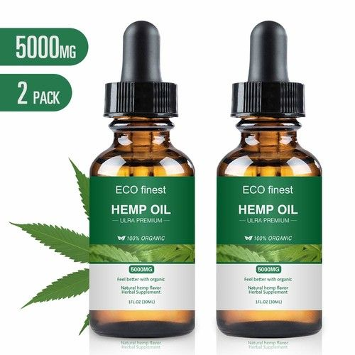 Hemp Oil for Pain & Stress Relief, Ecofinest 100% Natural Hemp Seed Extract Rich in Vitamin & Omega -Helps with Sleep, Skin & Hair, Zero THC CBD Cannabidiol(2 Pack 5000MG)