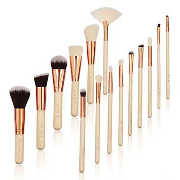 MAANGE 15 Pieces Makeup Brush Set Premium Synthetic Kabuki Foundation Blending Blush Concealer Eye Face Liquid Powder Cream Cosmetics Brushes Kit