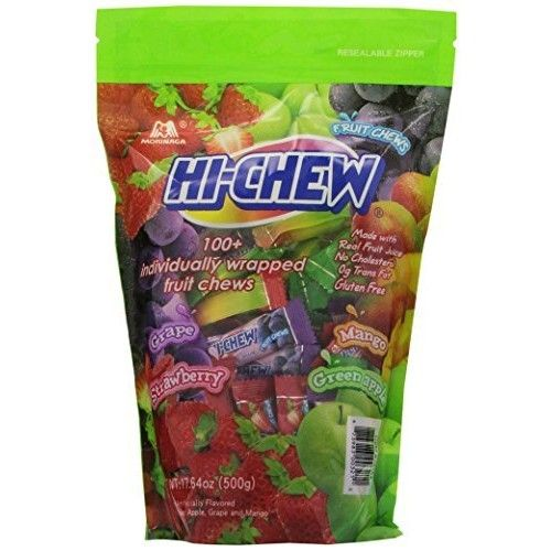 Morinaga Hi -Chew Assorted Flavored 17.64 oz 100+ Individually Wrapped Fruit Chews Mango Grape Strawberry Green Apple (1)