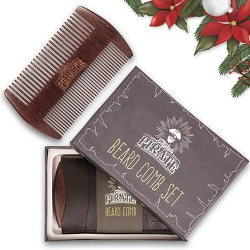 Premium Beard Comb Set for Your Amazing Groomed Beard - Fine and Coarse Teeth for Any Type of Beard - Quality Sandalwood Comb to Use With Balm and Oil - Bonus: Pu Leather Case for Your Pocket Comb