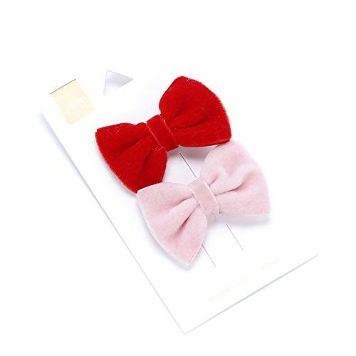 Girls Rich Velvet Bow Hair Clip 2-pc Set - Classic Beauty / Red - Blush Pink - (3 Yr +)