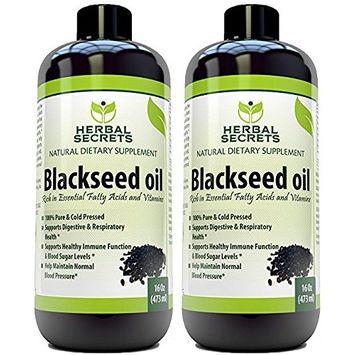 Herbal Secrets Black Seed Oil Natural Dietary Supplement - Cold Pressed Black Cumin Seed Oil from 100% Genuine Nigella Sativa - 16 oz Bottle (2 Pack)
