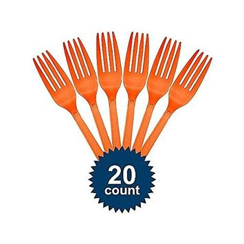 Premium Heavy Weight Plastic Forks | Orange Peel | Pack of 20 | Party Supply