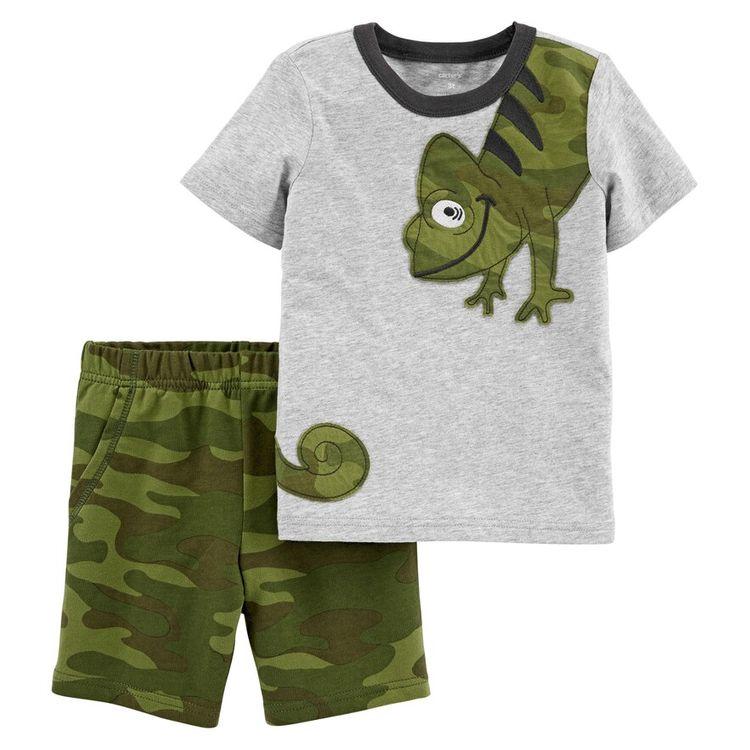 Baby Boy Carter's Chameleon Wrap Around Tee & Camo Shorts Set, Size: 6 Months, Light Grey