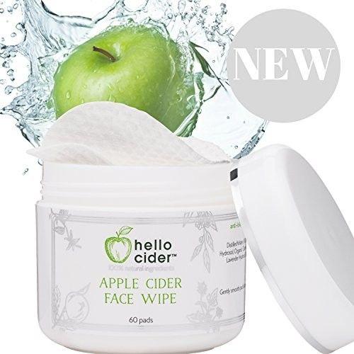 Organic Apple Cider Vinegar Acne Treatment Face Pads - 100% Natural Tea Tree+ Witch Hazel+Rose+Chamomile+Geranium Hydrosols. Balance pH, Toner, Cleanser, Moisturizer, No Oils, 60 Pads by Hello Cider …