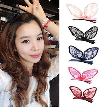 5 Pcs Cute Bunny Ears Lace Bow Hair Clip - Fashion Head Clip Hair Accessories for Women Lady Girl (Color Random)