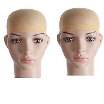 HUELE 2 Pieces One Size Nylon Wig Cap (Skin Color)