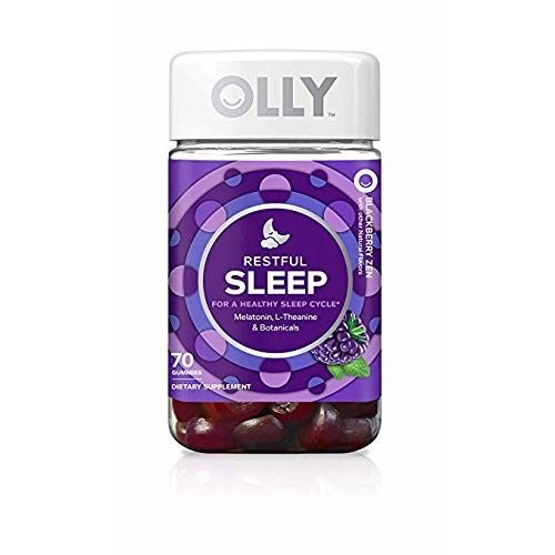 OLLY Restful Sleep Gummy Supplement with Melatonin & L-Theanine Chamomile, BlackBerry Zen, Supports a Healthy Sleep Cycle* (Packaging May Vary)