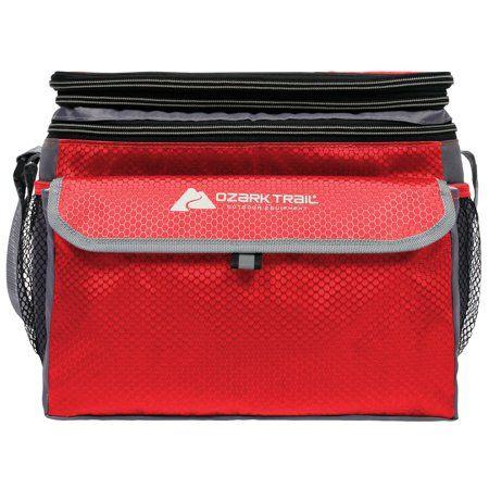 Ozark Trail 12 Can Soft Side Cooler with Removable Plastic Hardliner Insert, Shoulder Strap, Red