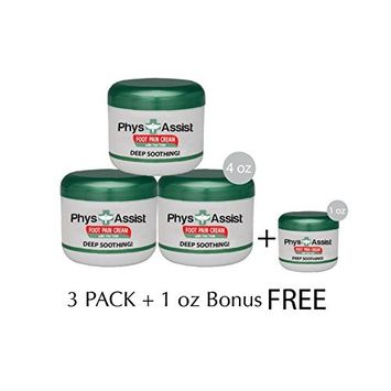 PhysAssist Foot Pain Cream - Three - 4 oz Pack + 1.3 oz