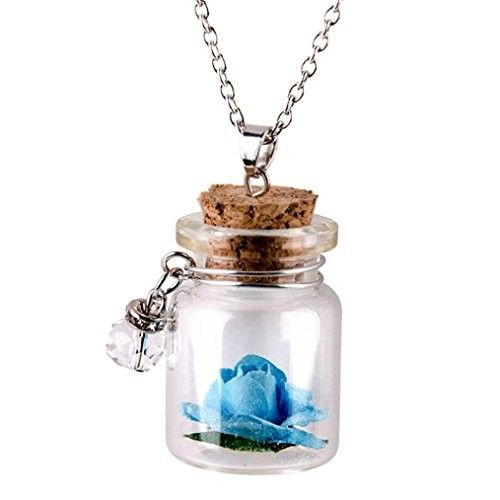 Fheaven Shine Flower Glass Tiny Wishing Bottle Vial Necklace Pendant Chain Gift Glow in the Dark