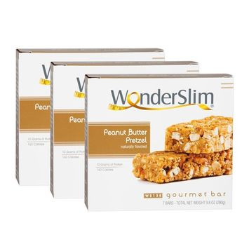 WonderSlim Gourmet High Protein Bar/Diet Bars with 10g Protein - Trans Fat Free, Cholesterol Free, Peanut Butter Pretzel - 3 Box Value-Pack (Save 5%)