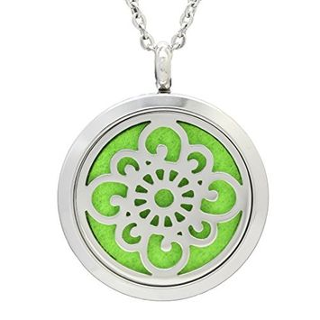ULTNICE Aromatherapy Perfume Essential Oil Fragrance Diffuser Necklace Stainless Steel Locket Pendant (DZ-50)