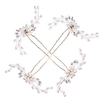 Hair Pins,Exacoo 4 Pack Bridal Silver Hair Pins Wedding Pearl Sparkle Crystal Hair Pin for Women and Girls