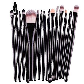 [15 pcs/Set]Doinshop Eye Shadow Foundation Eyebrow Lip Brush Makeup Brushes Sets Kits (black): Beauty