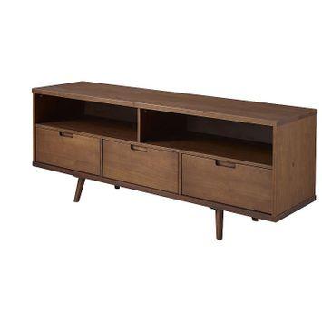 Banbury Designs Mid-Century Modern Solid Wood TV Stand