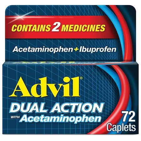 Advil Dual Action Acetaminophen 250mg + Ibuprofen 125mg Coated Caplets - 72ct
