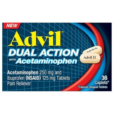 Advil Dual Action Acetaminophen 250mg + Ibuprofen 125mg Coated Caplets - 36ct