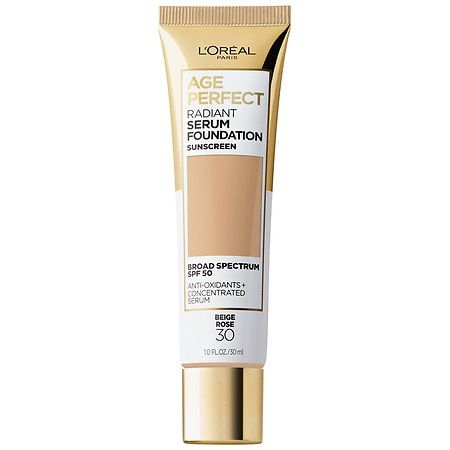 L'Oreal Paris Age Perfect Radiant Serum Foundation with SPF 50, Beige Rose, 1 fl. oz.