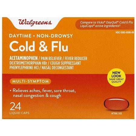 Walgreens Cold & Flu Daytime Liquid Caps - 24.0 ea
