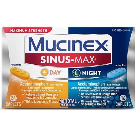 Mucinex Sinus-Max Maximum Strength Caplets, Sinus Pressure, Congestion, Headache Relief - 40.0 ea