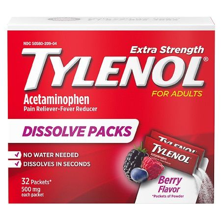 TYLENOL Extra Strength Dissolve Packs With Acetaminophen, Berry - 32.0 ea