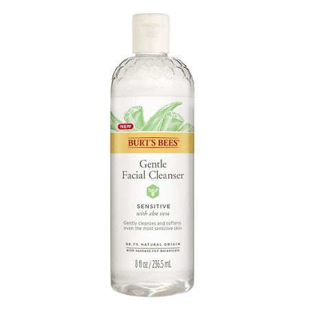 Burt's Bees Gentle Facial Cleanser for Sensitive Skin, with Aloe Vera, 98.7% Natural Origin, 8 Fluid Ounces