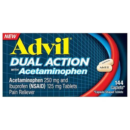 Advil Dual Action Acetaminophen 250mg + Ibuprofen 125mg Coated Caplets - 144ct
