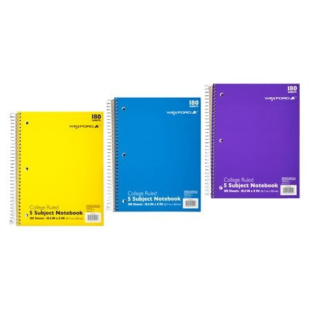 Wexford 5 Subject College Ruled Notebook Assortment - 180.0 sh