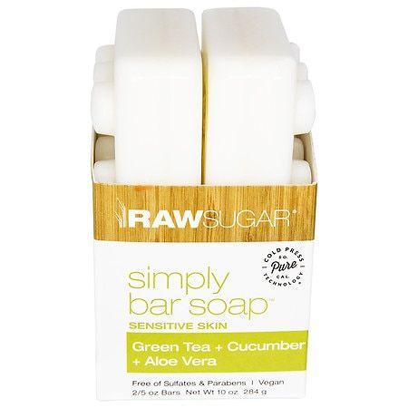 Raw Sugar Sensitive Skin Bar Soap - Green Tea + Cucumber + Aloe Vera Green Tea - 5.0 oz x 2 pack