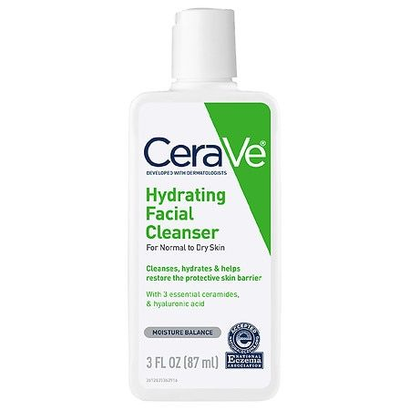 CeraVe Hydrating Face Cleanser Fragrance Free Face Wash with Hyaluronic Acid - 3.0 fl oz