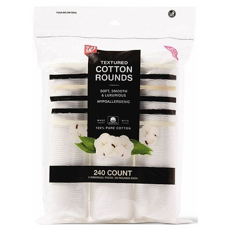Walgreens Textured Cotton Rounds, Soft, Smooth & Luxurious - 240.0 ea x 24 pack