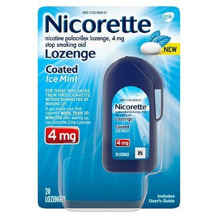 Nicorette 4mg Coated Nicotine Lozenge Stop Smoking Aid - Ice Mint - 20ct