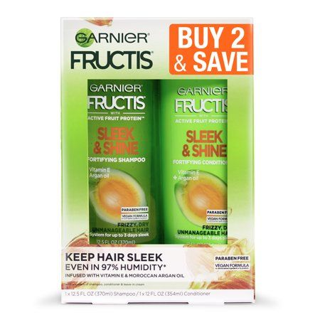 Garnier Fructis Active Fruit Protein Sleek & Shine Shampoo & Conditioner Twin Pack - 24.5 fl oz