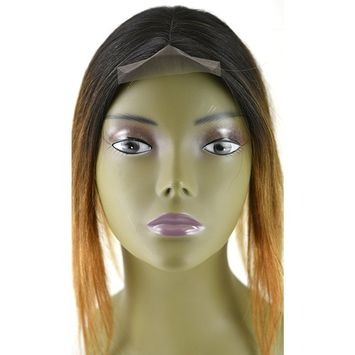 Invisible Lace Closure Natural Brazillian Virgin Remy 100% 12'' Human Hair Color: Ombre 1B/30