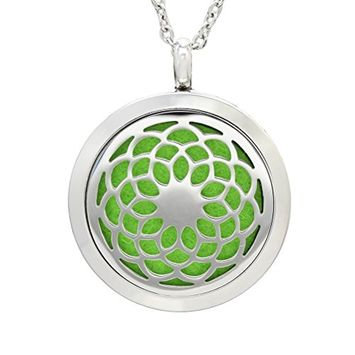 ULTNICE Aromatherapy Essential Oil Diffuser Stainless Steel Necklace Round Locket Pendant (DZ-1)