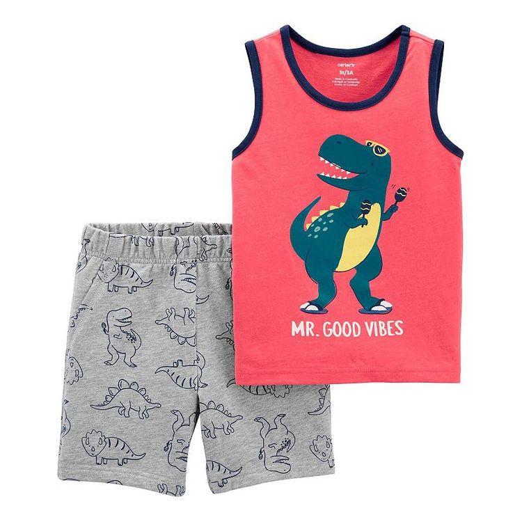 Baby Boy Carter's Dinosaur Tank & Shorts Set, Infant Boy's, Size: 24 Months, Orange Dino