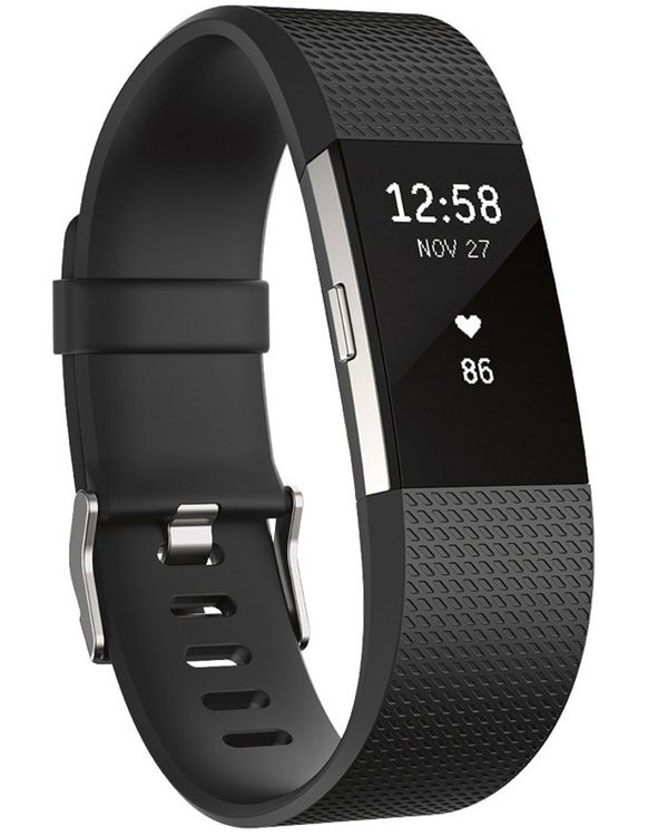 Charge 2 Heart Rate + Fitness Wristband (Black/Silver) - Large