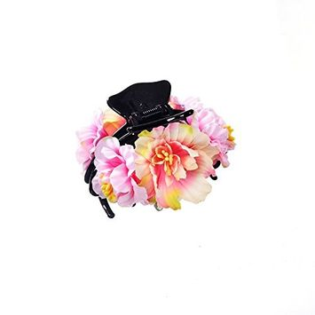 Women Hair Clips Beauty Ribbon Rose Flower Bow Jaw Clip Barrette Hair Claws