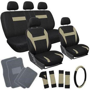 Istiloshoppe Car Accessories 20pc Set Beige Tan Black VAN Seat Covers Wheel + Pads + gray Floor Mats 4C