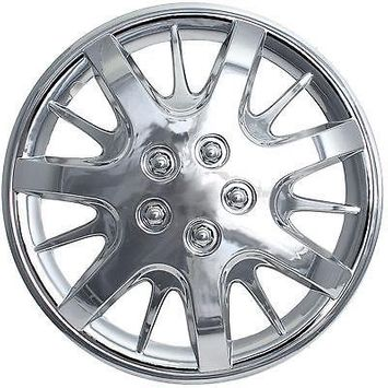 Istiloshoppe Car Accessories 4 Pc MONTE CARLO Steel Wheel Snap On CHROME 16' Hub Caps 5 Spoke Fit Skin Covers