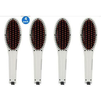 4 Pack Professional Hair Straightener Brush -ION heating technology, Temperature Control
