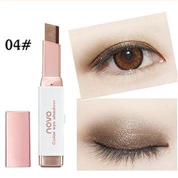 Huayang| Waterproof long lasting Eye Shadow Stick Waterproof Double Colors Gradient Velvet Smooth Shimmer Eyeshadow Pen - 4#
