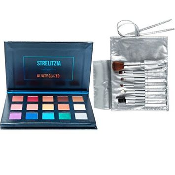Beauty Glazed Shimmer And Matte 15 Colors Eyeshadow Palette Powder Professional Eye Cosmetic Strelitzia Textured Shadows Palette With Makeup Brushes Set